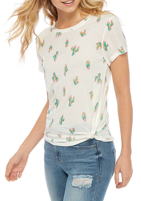Juniors Short Sleeve Cactus Conversational T-Shirt