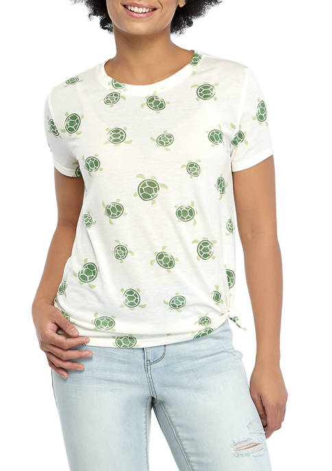 Cold Crush Juniors Side Knot Turtle Graphic T-Shirt