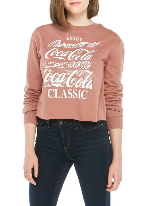 Coca-Cola Juniors Long Sleeve Crop Fleece Coke Top