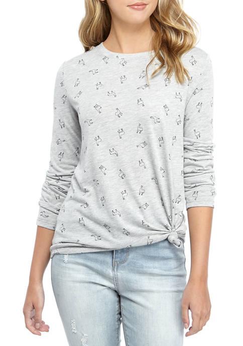 Cold Crush Juniors Long Sleeve Conversational Llama T-Shirt