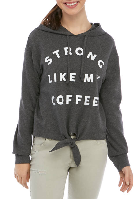 Cold Crush Juniors Long Sleeve Fleece Graphic Coffee