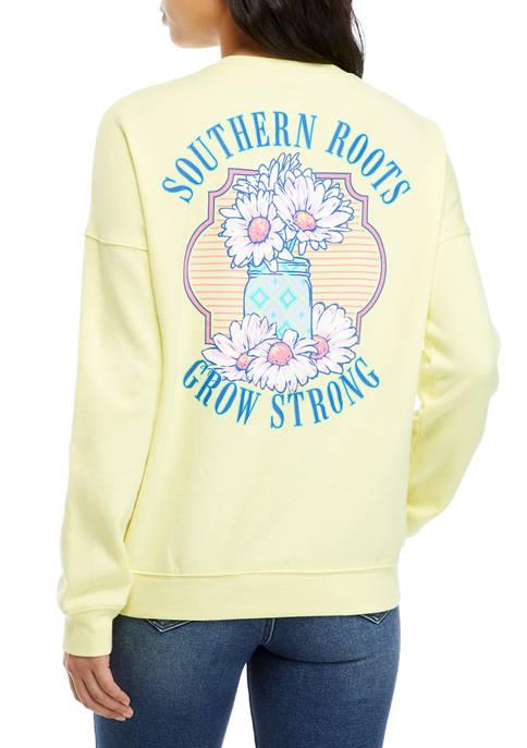 Juniors Drop Shoulder Fleece Southern Roots Graphic Pullover