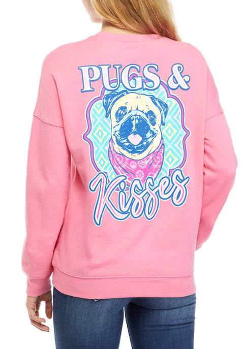 Juniors Drop Shoulder Fleece Pugs and Kisses Graphic Pullover