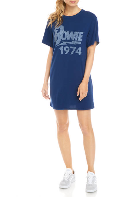 Bowie Juniors Short Sleeve Tunic Graphic Dress