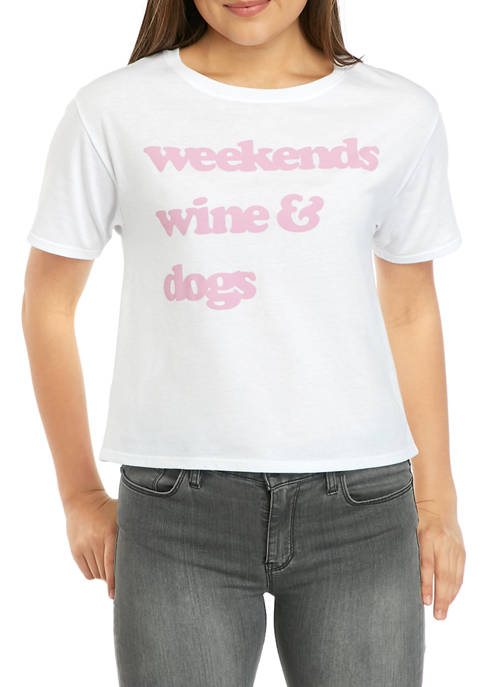 ACDC Juniors Skimmer Weekend Wine Dogs Graphic T-Shirt