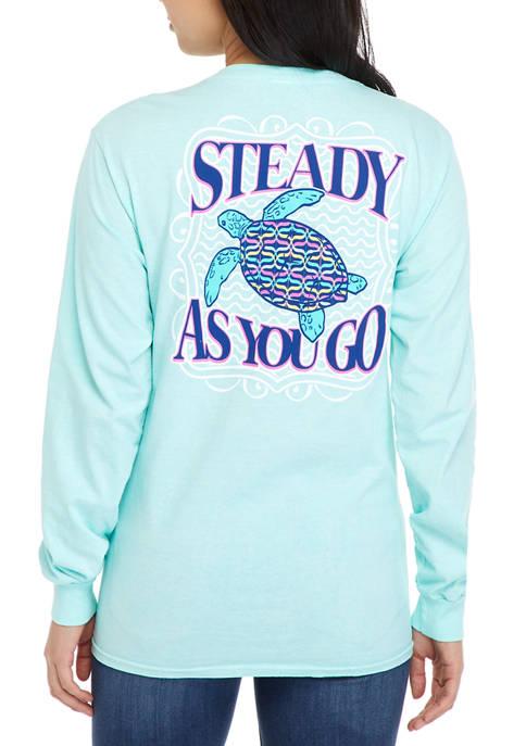 Juniors Long Sleeve Steady As You Go T-Shirt