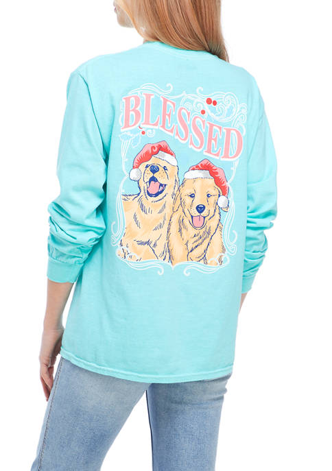 Juniors Long Sleeve Blessed Pups Graphic T-Shirt