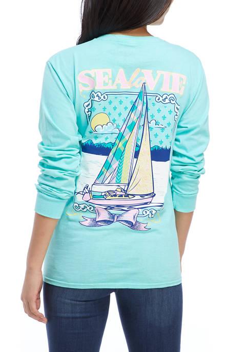 Juniors Long Sleeve Sailboat Graphic T-Shirt