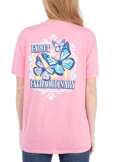 Juniors Short Sleeve Expect Extraordinary Graphic T-Shirt
