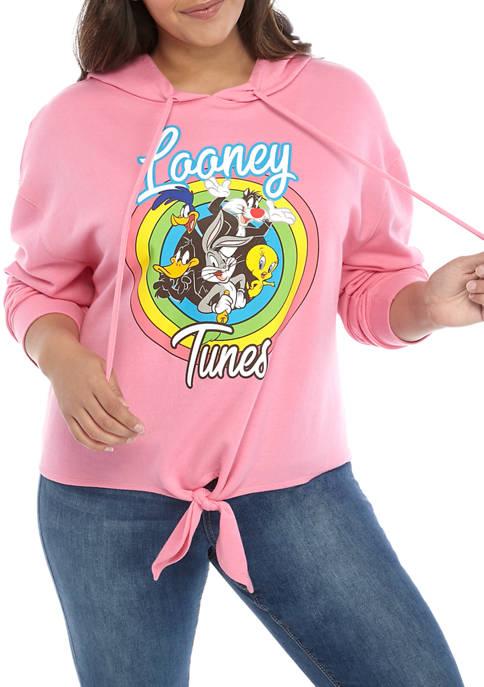 Plus Size Long Sleeve Tie Hoodie Looney Tunes Sweatshirt
