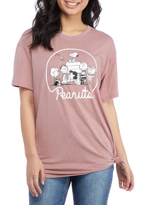 Peanuts® Juniors Short Sleeve Side Knot Graphic T-Shirt