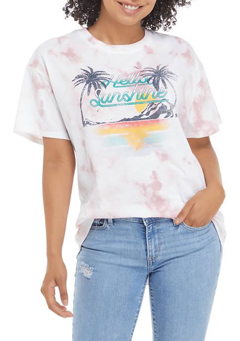 Juniors Short Sleeve Hello Sunshine Graphic T-Shirt