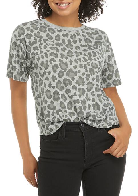 Cold Crush Juniors Short Sleeve Leopard Print Skimmer