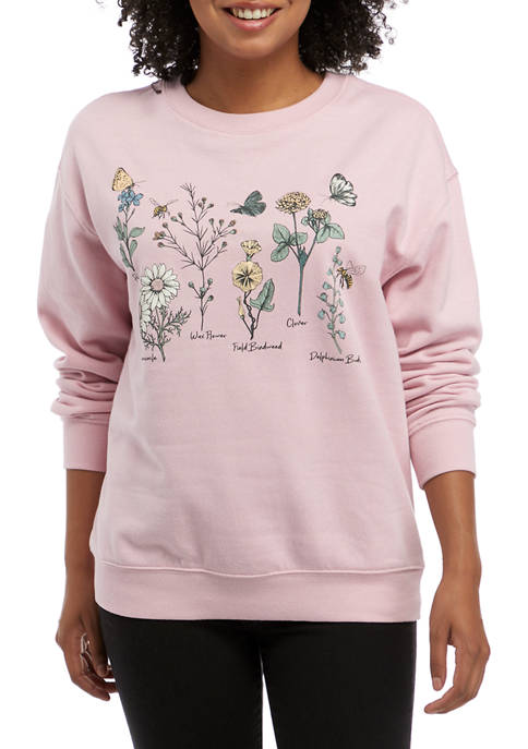 Cold Crush Juniors Floral Graphic Fleece Pullover