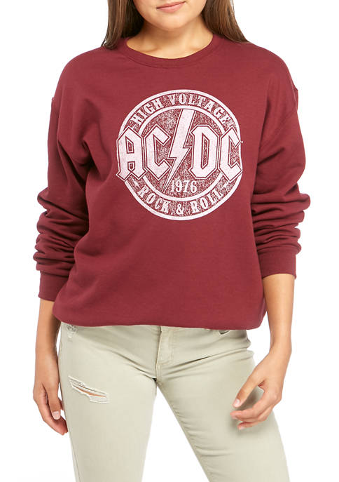 Juniors Long Sleeve Fleece ACDC Graphic Sweatshirt