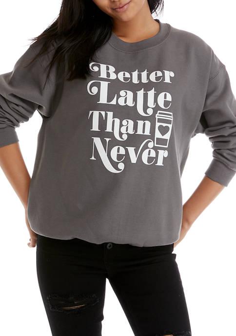 Cold Crush Juniors Better Latte Graphic Fleece Sweatshirt