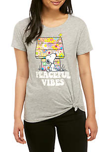382242d271b9 ... Peanuts® Short Sleeve Side Knit Snoopy Peace and Love Graphic T Shirt