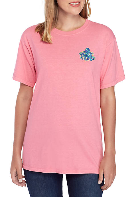 Short Sleeve Going with The Flow Octopus Graphic T Shirt