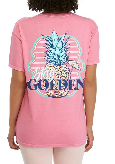 Juniors Short Sleeve Stay Golden Pineapple Graphic T-Shirt
