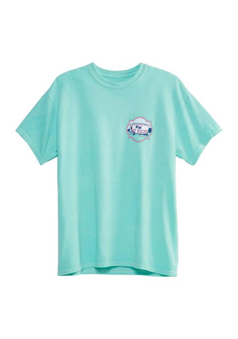 Juniors Happy Camper Short Sleeve Graphic T-Shirt