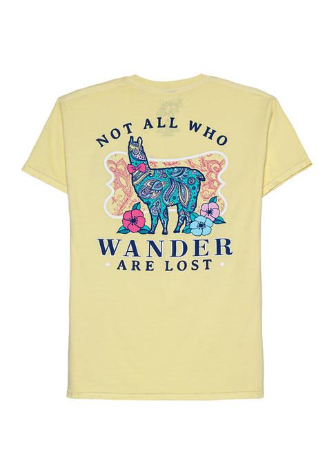 Juniors Short Sleeve Llama Wander Graphic T-Shirt