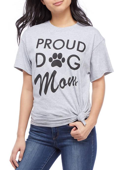 Juniors Short Sleeve Side Knot Dog Mom Graphic T-Shirt