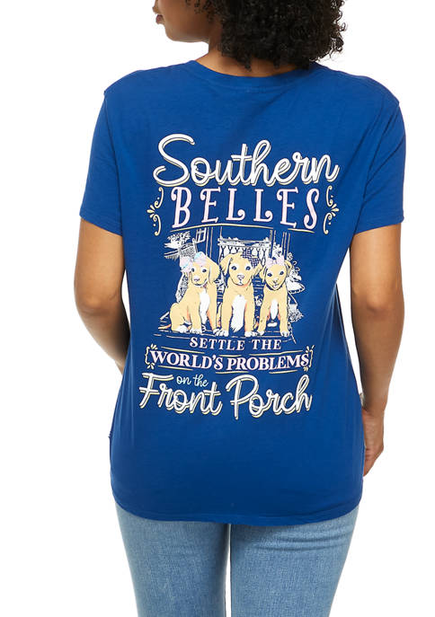 Juniors Southern Belle Dog Graphic T-Shirt