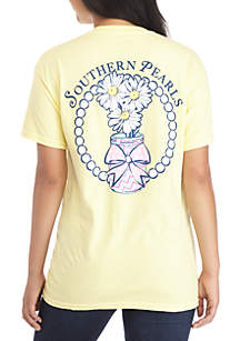Short Sleeve Southern Pearls And Flowers Tee
