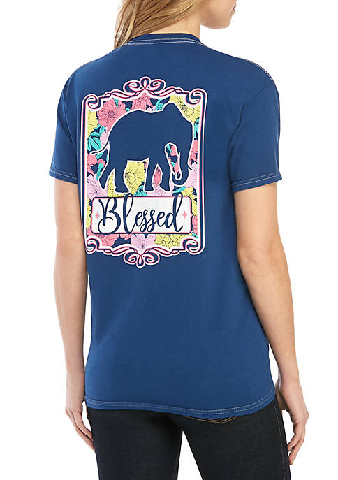 Benny & Belle Short Sleeve Elephant Blessed Graphic