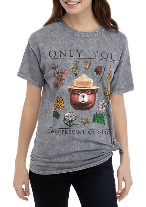 Juniors Short Sleeve Side Knot Smokey the Bear Graphic T-Shirt