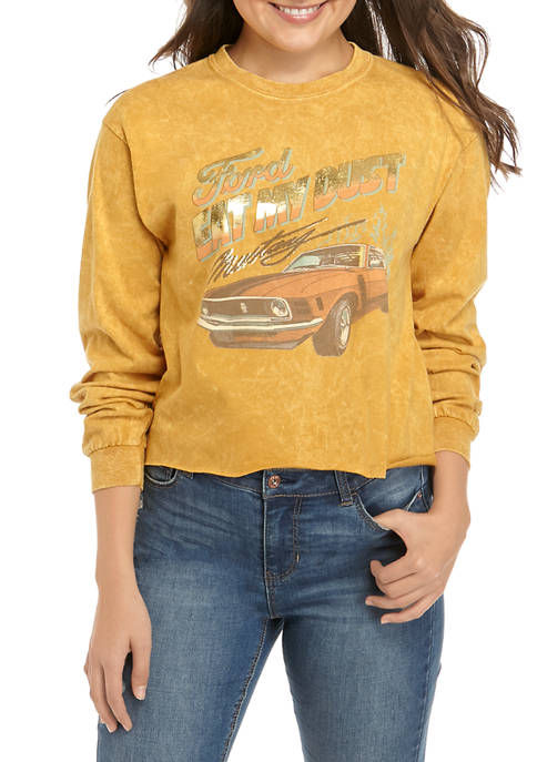 Ford Juniors Long Sleeve Washed Skimmer Mustang Graphic