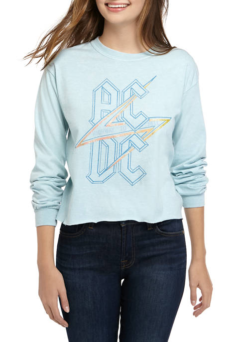Juniors Long Sleeve Washed Skimmer ACDC T-Shirt