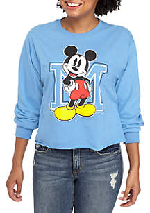 Long Sleeve Mickey Crop Graphic Tee
