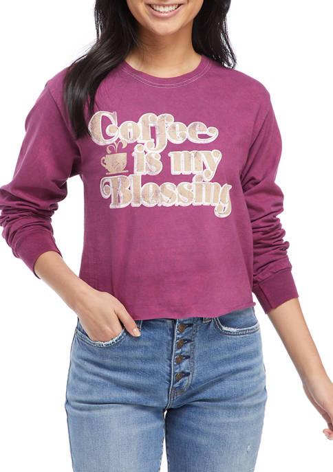 Juniors Long Sleeve Skimmer Coffee Graphic T-Shirt