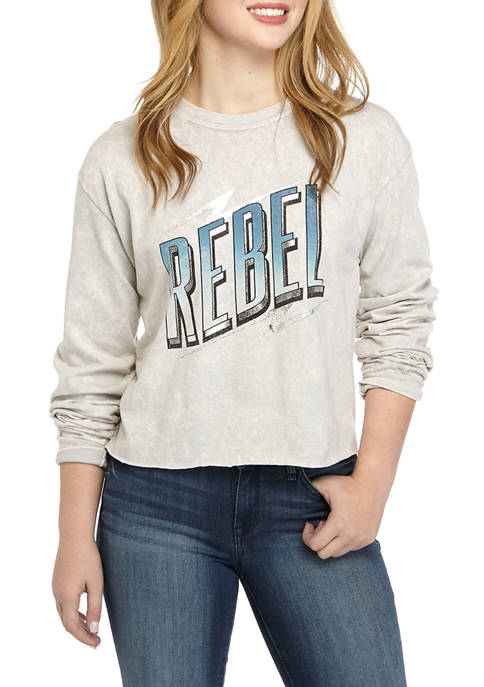 Juniors Long Sleeve Washed Skimmer Rebel Graphic T-Shirt