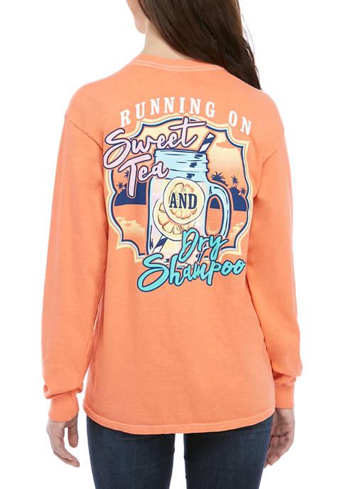 Juniors Long Sleeve Runnin On Sweet Tea Graphic T-Shirt