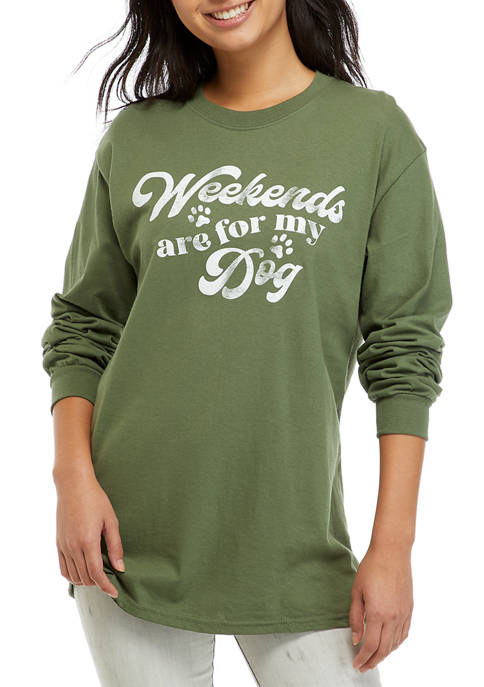 Juniors Side Knot Weekends Graphic Pullover