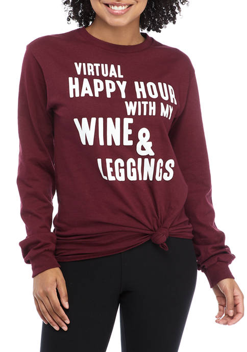 Juniors Long Sleeve Virtual Happy Hour Tie Front Graphic T-Shirt