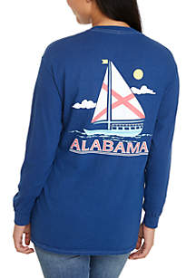 Alabama State Sailboat Long Sleeve Graphic Tee