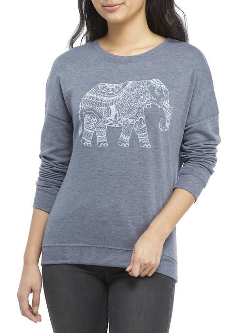 Juniors Long Sleeve Elephant Sweatshirt