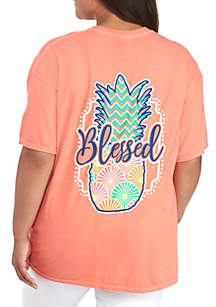 Plus Size Short Sleeve Blessed Pineapple Tee