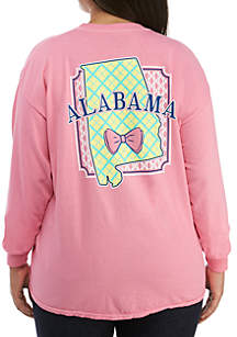 Plus Size Long Sleeve Alabama State Bow Tie Tee