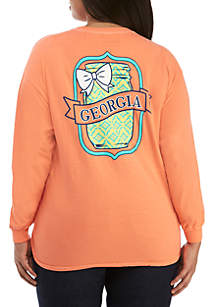 Plus Size Georgia State Mason Jar Long Sleeve Shirt