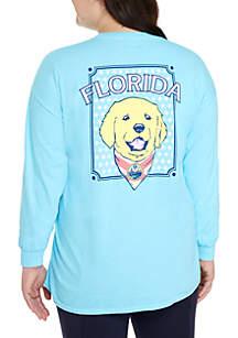 Benny & Belle Plus Size Long Sleeve Florida Dog Print Shirt