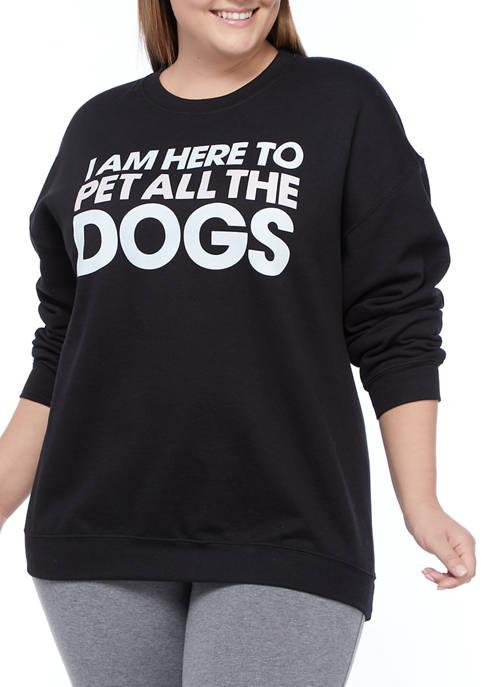 Cold Crush Plus Size Dogs Graphic Sweatshirt