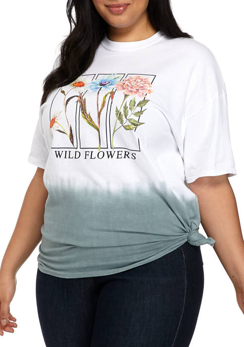 Plus Size Dip Dye Flower Graphic T-Shirt