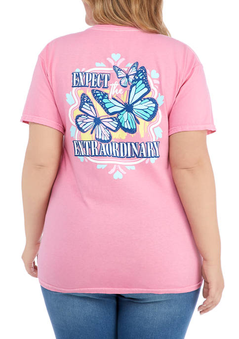 ACDC Plus Size Short Sleeve Butterfly Graphic T-Shirt