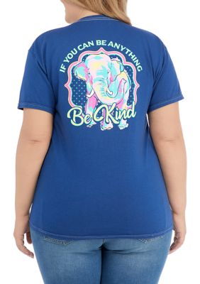 Acdc Womens Juniors Short Sleeve Be Kind Elephant Graphic T-Shirt