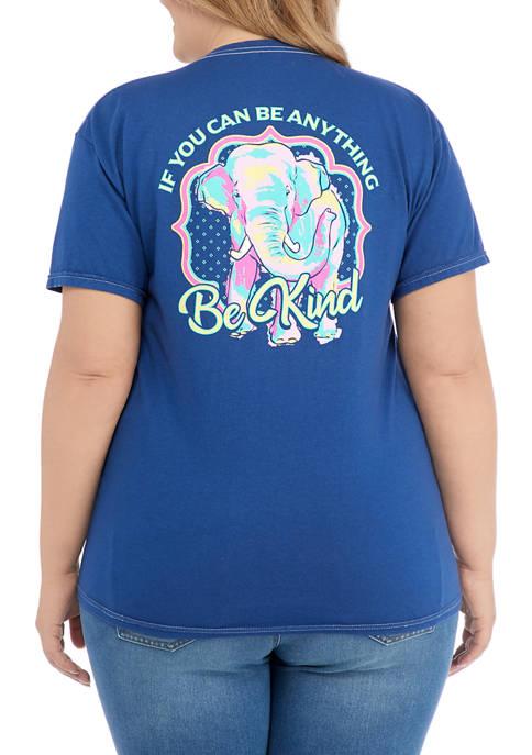 Juniors Short Sleeve Be Kind Elephant Graphic T-Shirt