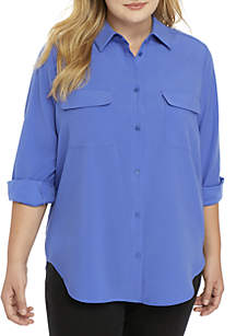 Plus Size Long Sleeve Button Front Shirt